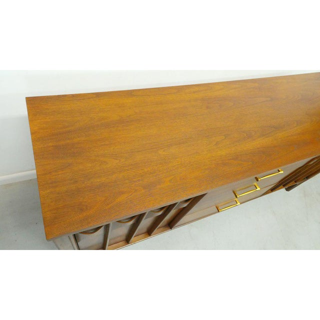 Brass 1960's Mid Century Modern Kent Coffey Perspecta Walnut Credenza For Sale - Image 7 of 9