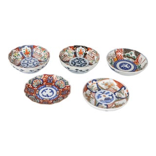 Mid 19th Century Hand Painted Japanese Imari Porcelain Plates - Set of 5 For Sale