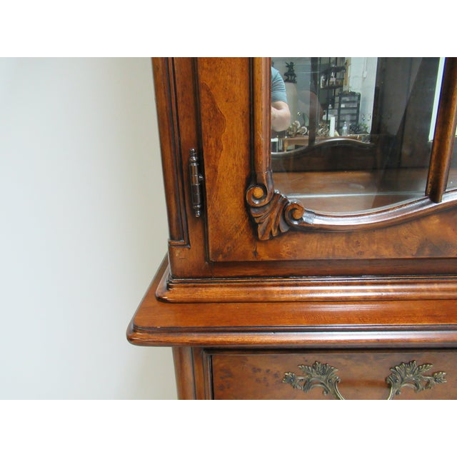 1980s Vintage Custom French Bombay Burl Wood China Cabinet Breakfront Hutch For Sale - Image 9 of 12