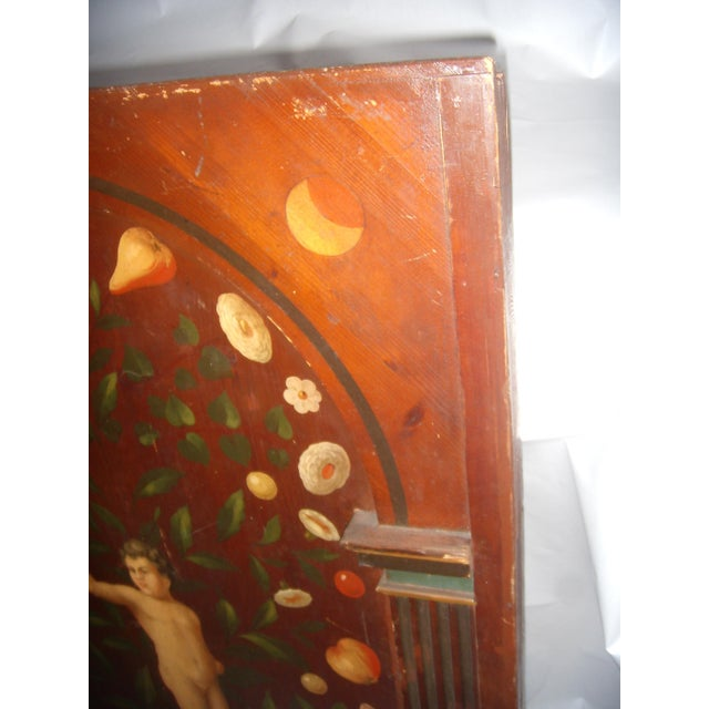 Antique Painted French Wood Panel of Cherub & Fruit & Bird - Image 7 of 11