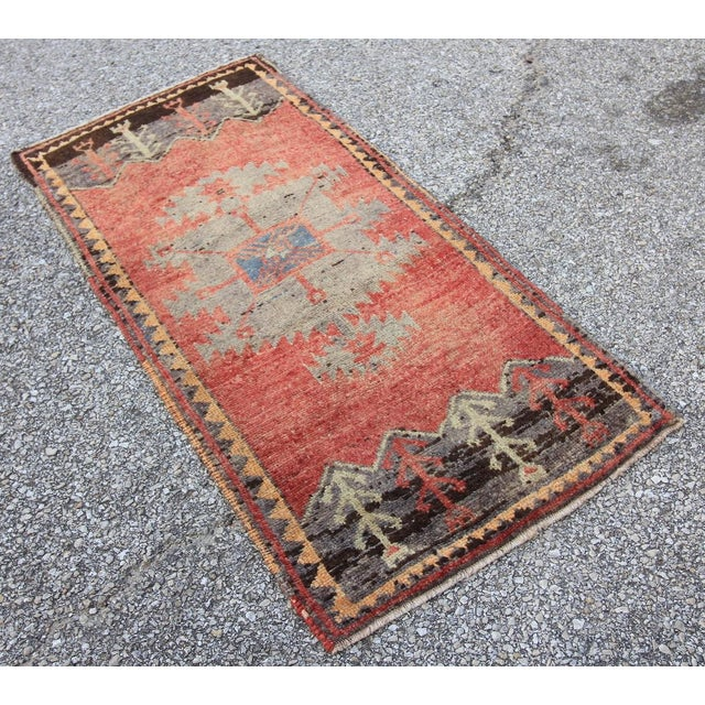 Mid-20th C. Vintage Antique Tribal Oushak Hand Knotted Turkish Rug - 1'8 X 3'5 - Image 3 of 5
