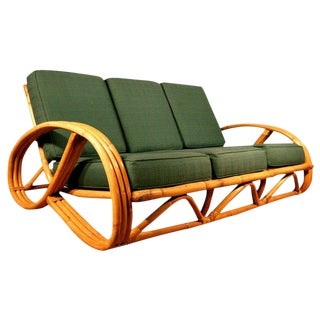 Restored Paul Frankl Style Round Pretzel Arm Rattan Sofa For Sale