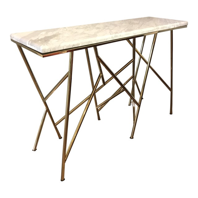 Surreal gold marble 39 criss cross 39 console table chairish for Table th width ignored