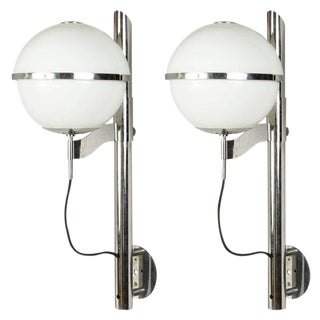 White and Chrome Globe Sconces by Mazzega - a Pair For Sale