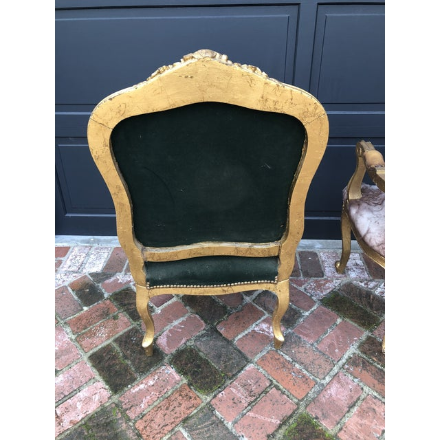 Early 20th Century Antique Gold Painted Louis Style Bergere Arm Chair For Sale - Image 5 of 7