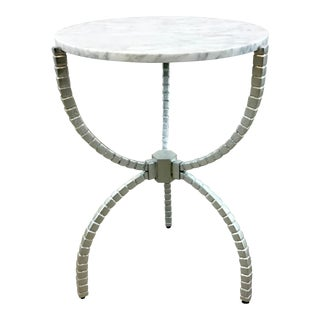 Worlds Away Modern White Marble Cleveland Side Table For Sale