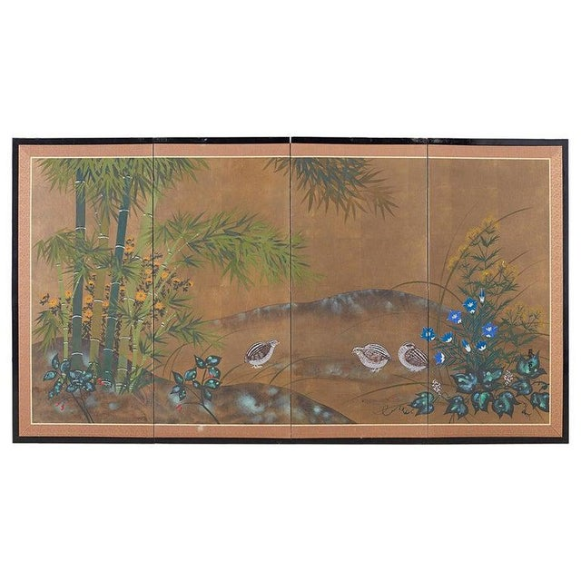 Japanese Four Panel Screen Quail in Flower Bamboo Landscape For Sale - Image 13 of 13