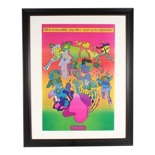 "Vintage Peter Max 1970 Offset Lithograph Poster ""Life Is So Beautiful-Stay Alive-Don't Smoke Cigarettes"" For Sale"