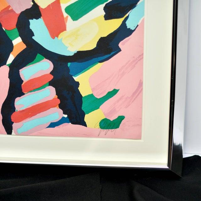 """Modern Karel Appel """"Lying in Color 'Pink Cat'"""" 1979, Signed, Framed in Chrome For Sale - Image 3 of 8"""