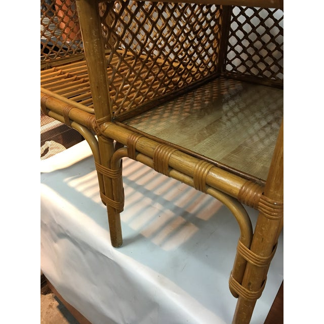 Wicker Wicker and Bamboo Chair & Table For Sale - Image 7 of 12