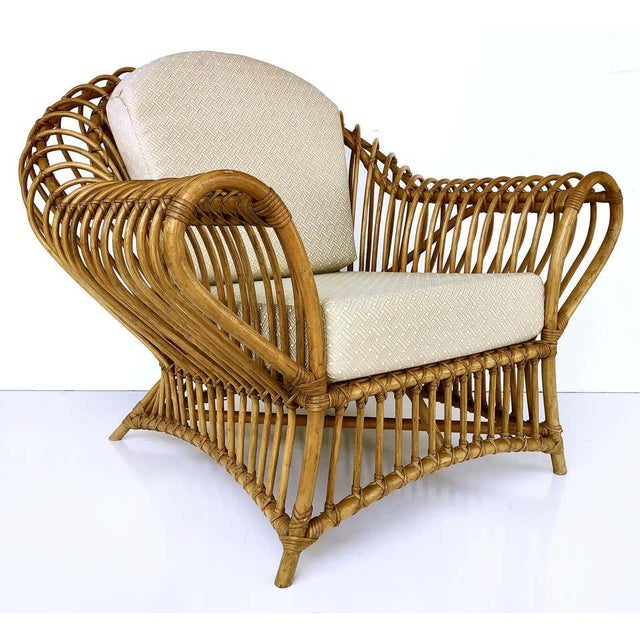 Franco Albini rattan chair and ottoman set, 1980s Offered for sale is an impressive and rare vintage Franco Albini chair...