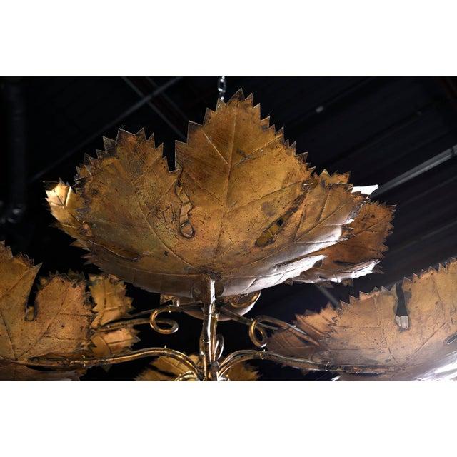 Spanish Gilt Metal Leaf Form Five Light Hanging Fixture For Sale In Detroit - Image 6 of 13