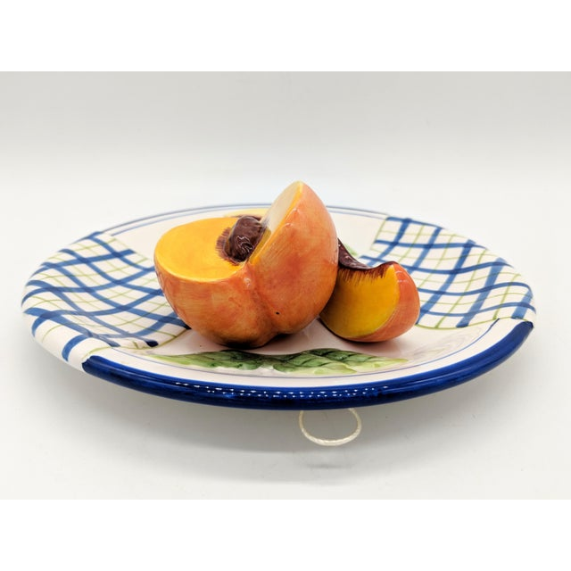Early 21st Century Bella Casa Trompe l'Oeil Blue and White Peach Fruit Plate For Sale - Image 5 of 7