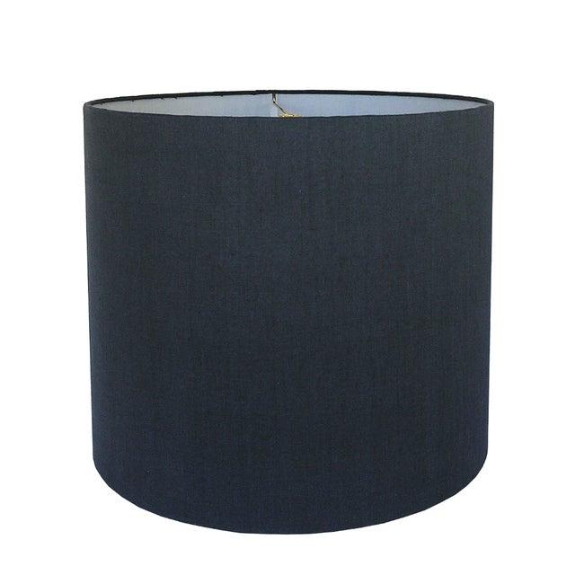 Contemporary Medium Navy Linen Custom Drum Shade For Sale - Image 3 of 3