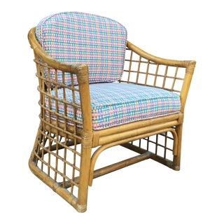 Newly Upholstered Pencil Rattan Barrel Chair