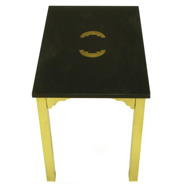 1960s Brass & Black Granite End Table With Geometric Inlay For Sale - Image 5 of 7