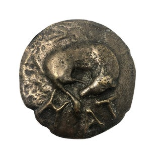 Vintage Italian Cast Bronze Double-Sided Ancient Coin Paperweight For Sale