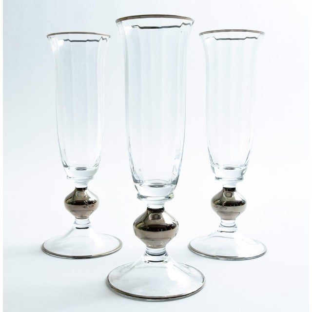 Art Deco Barware Crystal Champagne Flute Set Eight Pieces For Sale In New York - Image 6 of 12