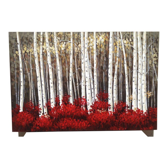 Gorgeous colors in this large Aspen forest Painting on Canvas. Clear and crisp this is a beauty! Bring the outdoors in,...
