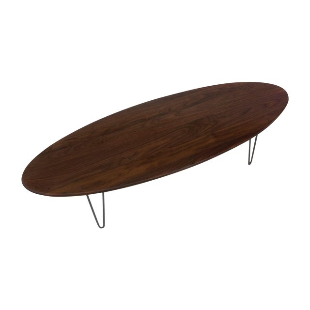 Elliptical Surf Board Table Handmade Solid Walnut - Image 1 of 5
