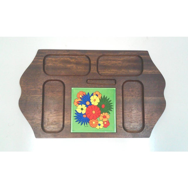 Offered is a Mid-Century carved hardwood Pop Art style tile tray for serving appetizers or for use as a dresser valet....