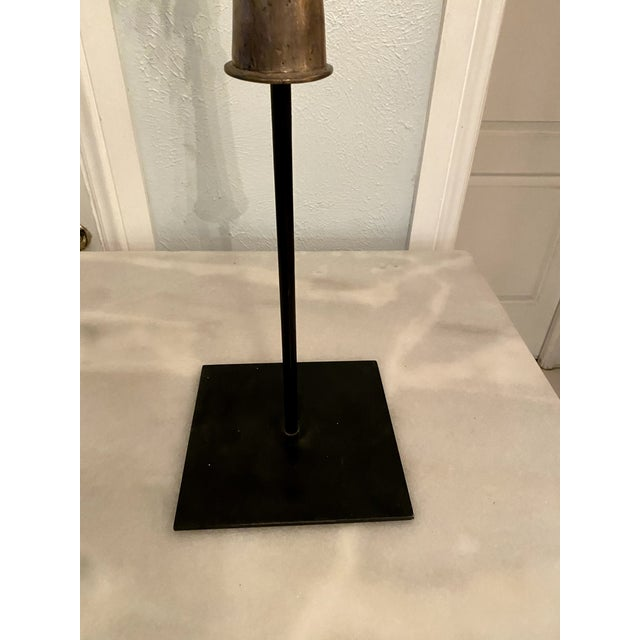 Mid 20th Century Large Ethiopian Coptic Processional Metal Cross on Black Metal Stand For Sale - Image 12 of 13