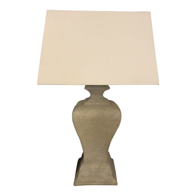 Faux Concrete Plaster Lamp With Shade For Sale