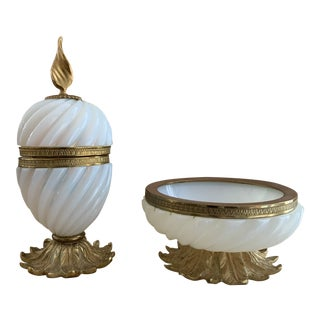 Vintage French Opaline and Brass Ashtray Smoking Set For Sale