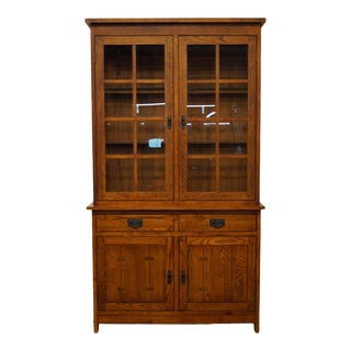 Shin Lee Solid Oak Mission Style Display China Cabinet For Sale