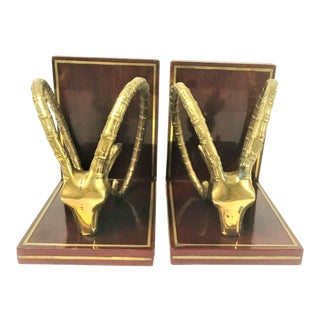 1970s Vintage Brass Onyx Gazelle Rams Head Bookends - a Pair For Sale