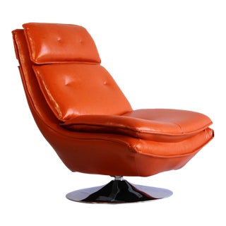 Modern Pasargad DC Turin Swivel Lounge Leather Chair For Sale