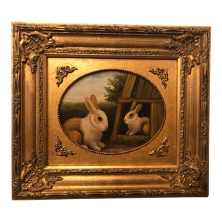 1980s Rabbit Framed Oil on Canvas Painting For Sale