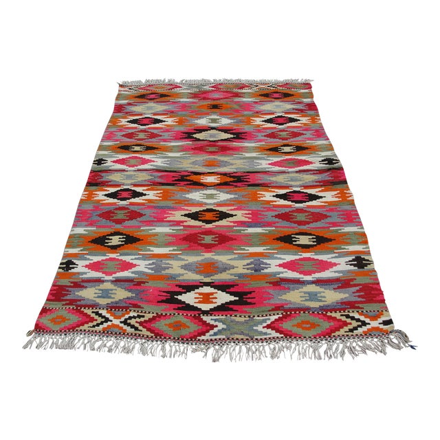 Vintage Turkish Kilim Rug - 4′4″ × 6′10″ For Sale