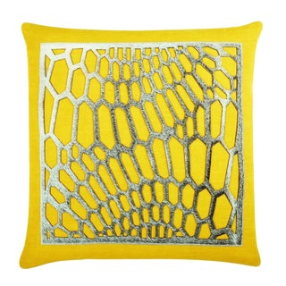 """Piper Collection Yellow Cotton """"Emerson"""" Pillow For Sale"""