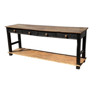 19th Century French Country Pine Server With 4 Drawers For Sale