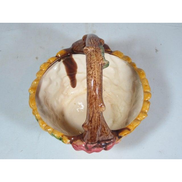 Ceramic Vintage Majolica Pansy Basket For Sale - Image 7 of 9