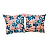 Image of Moroccan Pink and Turquoise Handwoven Pillows - a Pair For Sale