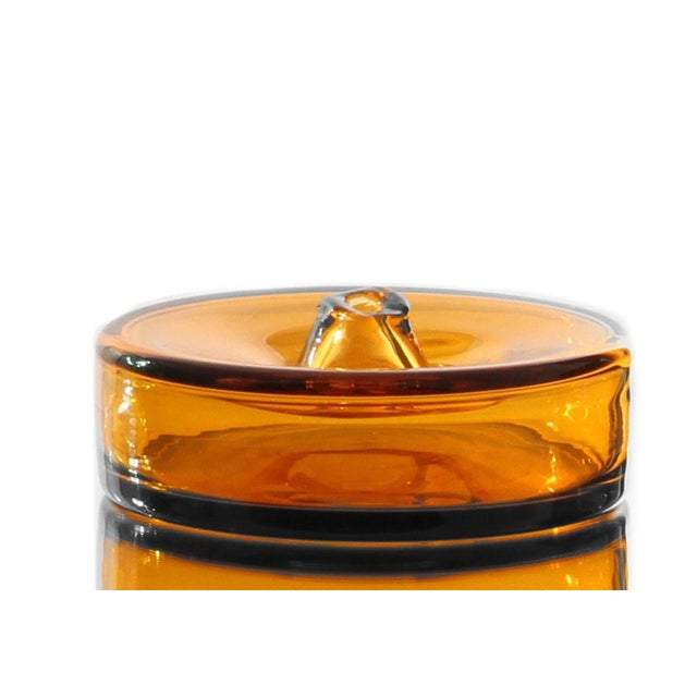 """Abstract SkLO Cylinder Glass Vessel 8"""" - Amber For Sale - Image 3 of 3"""