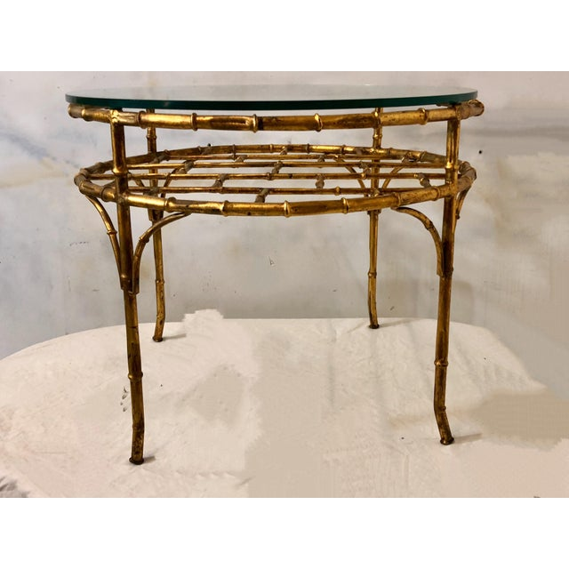 Gilt Metal Faux Bamboo Coffee Table For Sale - Image 4 of 6