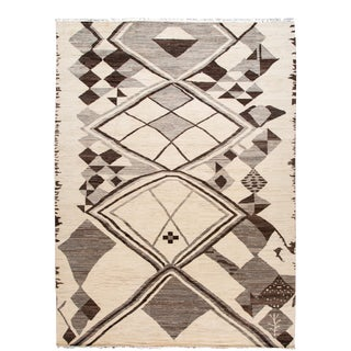 Large Modern Moroccan-Style Tribal Wool Rug 12 Ft 9 in X 17 Ft 4 In For Sale