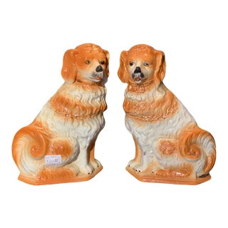 19th Century Antique English Glass Eyed Ceramic Staffordshire Dogs - a Pair For Sale