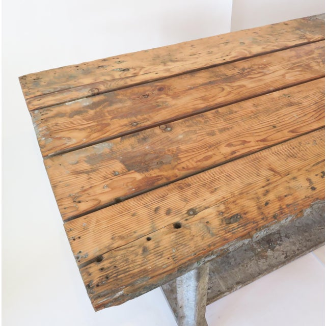 Industrial Plank Top Work Table For Sale - Image 4 of 7