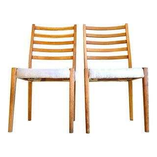 Mid-Century Modern Svegards Markaryd Reupholstered Ladder Back Side Chairs- a Pair For Sale