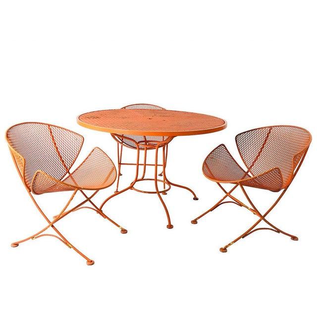 """Set of Three Mid-Century Salterini """"Orange Slice"""" Chairs & Table Orange Metal Patio Set For Sale - Image 9 of 9"""