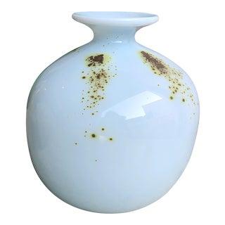1976 Art Glass Vase Signed William Worchester For Sale