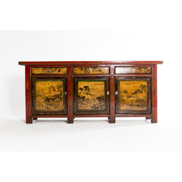 1920s Chinese Sideboard With Three Drawers and Three Doors For Sale - Image 5 of 9