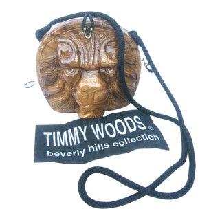 Timmy Woods Beverly Hills Carved Wood Artisan Lion Shoulder Bag For Sale
