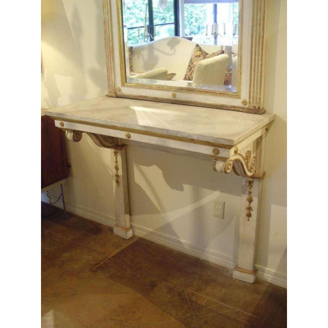 19th C. Italian Neoclassical Style Painted Console and Mirror For Sale In New Orleans - Image 6 of 7