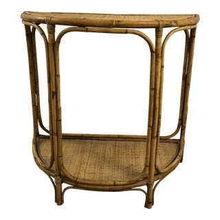 Vintage Bamboo & Rattan Demi Lune Table