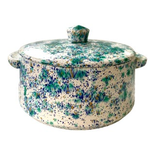 Vintage Blue and Green Speckled Pottery For Sale
